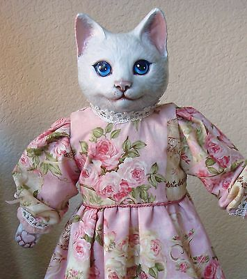 OOAK Artist Hand-Painted Bisque White Cat Doll Kitty