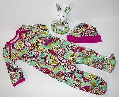 Vera Bradley Layette Baby Infant Tutti Fruitti Sleeper Outfit Hat Rattle 6-9 mos
