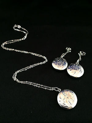 Rhodium plated Sterling silver Locket style pendant & earring set