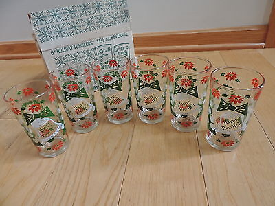 6 Merry Christmas Happy New Year Glass Tumblers Continental Can Hazel Atlas b349
