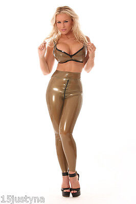 Latex rubber leggings pants unisex TV OPEN CROTCH SISSY ZIP, Gamaschenh
