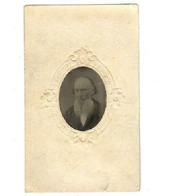 Tintype Photograph in Matte of Old Bearded Man Possible Post Mortem