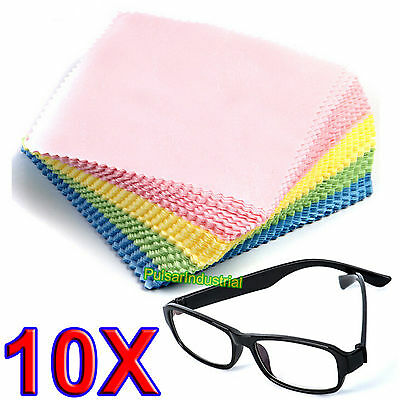 10 x LARGE MICROFIBRE GLASSES CAMERA LENS SPECTACLE MICROFIBER CLEANING CLOTH