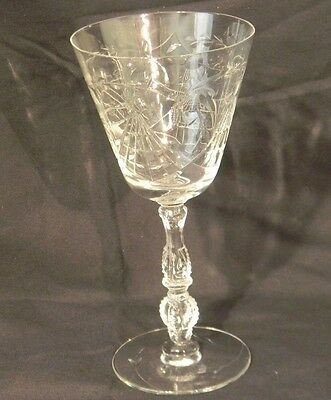 1 Vintage 1938 Water Goblet Delmonte Stem #3416 By Heisey Cut 850