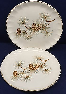 2 Salad Plates W.S. George Pinecone Pattern Green Needles Brown Cones