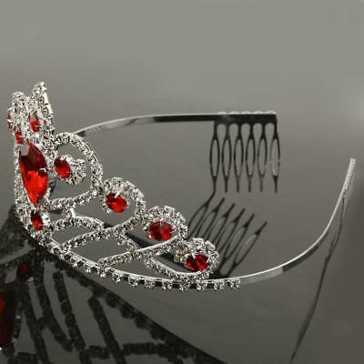 Silver Red Crystal Rhinestone Tiara Bridal Prom Party Crown w/ Hair Comb