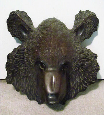 """Old Signed 15"""" Black Forest Japanese Ainu Carved Wood Bear Head w/ Glass Eyes"""