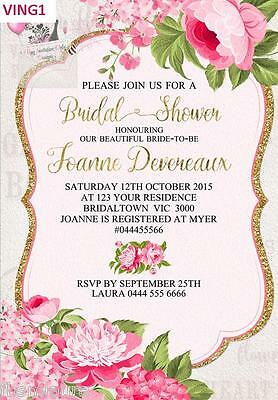 Vintage Floral Invitations Invites Bridal Shower Birthday High tea Baby Shower