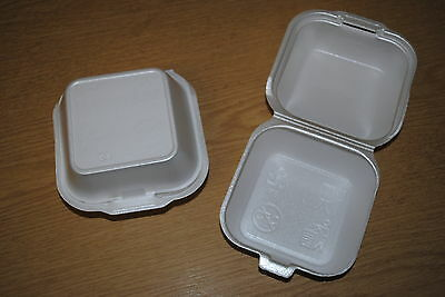 250 x Burger Box (SMALL) (SQ7/MP1) CHIPPY FOAM BOXES FAST FOOD CATERING (0156/2)