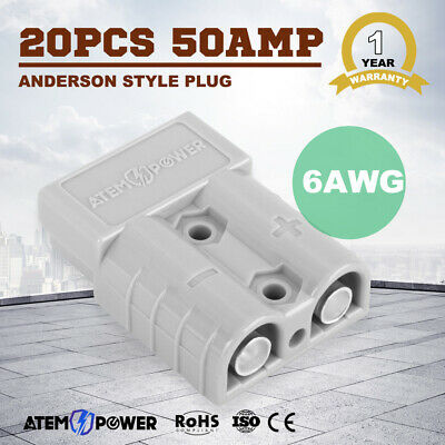 20PCS Anderson Style Plug Exterior Connector DC Power 12V 24V 50 AMP 6AWG