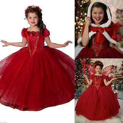 Kids Girls Dresses Costume Princess Party Fancy Dress +Cape Christmas gift