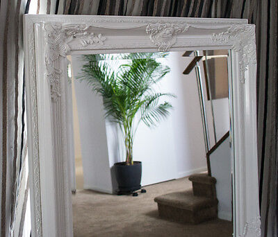 Tall Glossy White Bevelled Wall Mirror & Frame, Antique, Chic, 150cm x 80cm