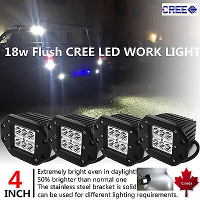 4pcs 4inch 18W CREE LED Work Light Pods Flood Flush Mount Offroad Truck Jeep SUV