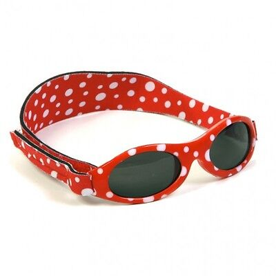 Girls Baby Banz Red Polka Oval Adventurer Sunglasses 100% UVA Protection 0-2yrs