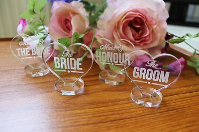 Wedding Place Setting Decorations - Table Name Plaques and Favours - Clear