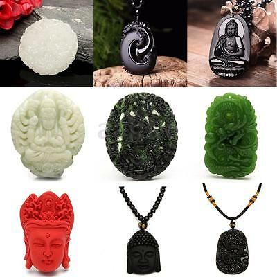 Chinese Tibetan Buddhist Buddha Hand Carved Necklace Pendant Chain Female Gift