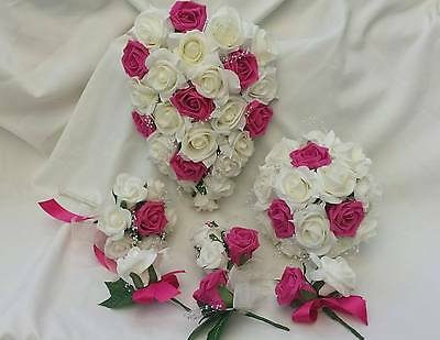 Wedding Flowers / cerise/ivory/ Bridal / Bridesmaid/ Flowergirl /Buttonholes