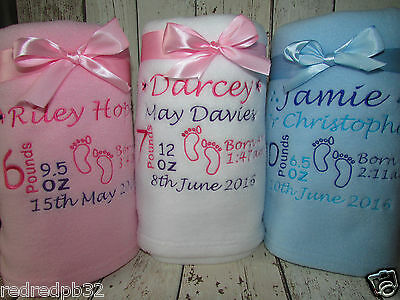 Personalised Baby Blanket Name Embroidered Boy Girl Newborn Christening Gift