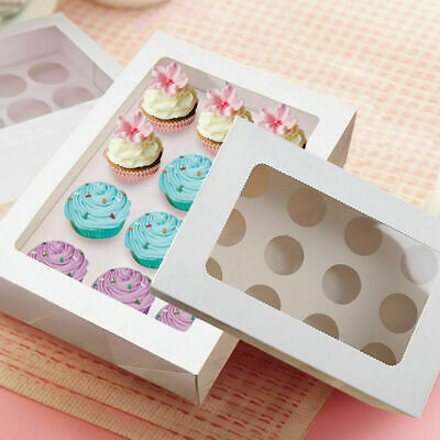 Cupcake Boxes 12 Hole 5 Pk Window Face With Inserts Cake Boxes Cake Boards