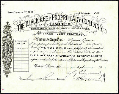 South Africa; Black Reef Proprietary Co., £1 shares, 1896, Sigismund Neumann