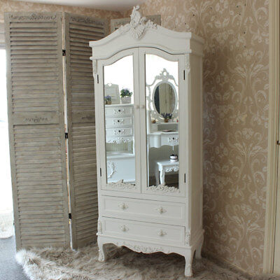 Antique white painted ornate mirror shabby french chic furniture shelf drawer