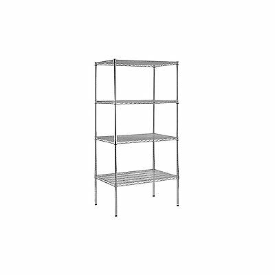 "Heavy Duty NSF Certified Chrome 4-Shelf Wire Shelving 86""H x 48""W x 18""D AB51741"