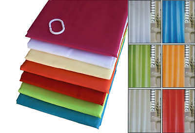 Fabric Bath/Shower Curtain Water Repellent, Sizes 120/180/240 + 12 Hooks Rings