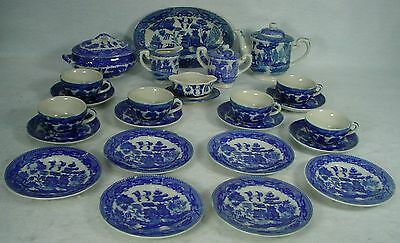 OCCUPIED JAPAN porcelain BLUE WILLOW pattern 27-pc CHILD'S DINNERWARE SET no box