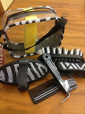 Showman™ Bling Zebra 6 Pcs Grooming Kit With Carring Case