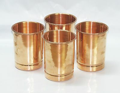 4 Pc 100% Pure Copper Handmade Ayurveda health Yoga Glass Cup for Drinking Water