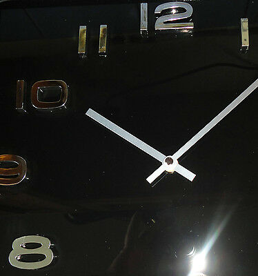 VINTAGE RETRO GLASS SQUARE WALL CLOCK - white red black 12 months Warranty