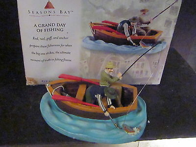 Dept 56 Season's Bay A GRAND DAY OF FISHING Fisherman Boat Never Displayed