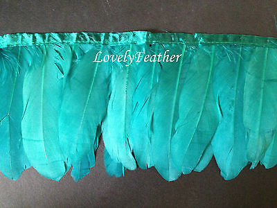 Goose feather fringe of peacock green colour 1 metre ribbon trim