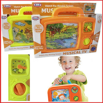 Wind Up Musical TV Orange Yellow Kids Toddlers Classic Toys In Box 12m+ Gift New