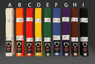 KO Plain Coloured Martial Arts Belt - Karate Judo Taekwondo -Sizes 180cm - 350cm