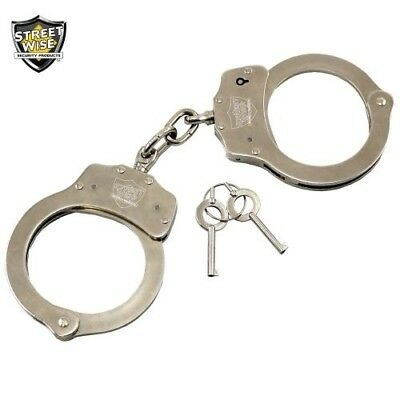 Streetwise Durable Nickel-Plated Solid Steel Double-Locking Handcuffs Restraints