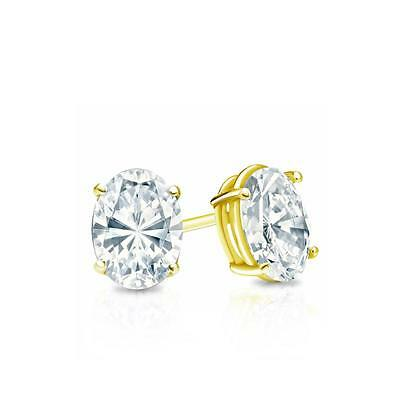 1 Ct Oval Cut Earrings Studs Real 14K Yellow Gold Brilliant Basket Screw Back