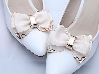 Elegant Golden Cream White Ribbon Butterfly Bow Wedding Bridal Shoe Clips -CA