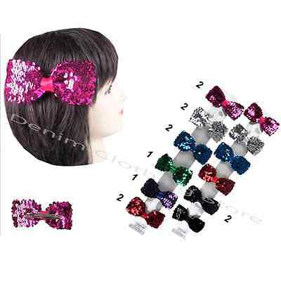 12pcs Baby Girls Sequins Bowknot Hairpin Hair Bow Clips Barrette Xmas Gift Lot