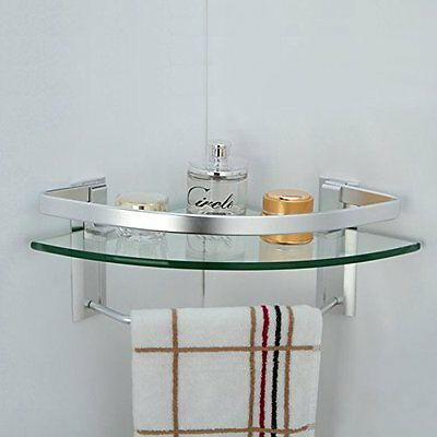 Bathroom Glass Corner Shelf Towel Bar Wall Mount Bath Shower Storage  Aluminum
