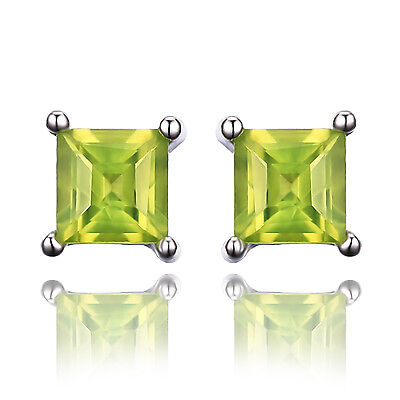 JewelryPalacePricess Cut Genuine Peridot Earrings Stud Solid 925 Sterling Silver