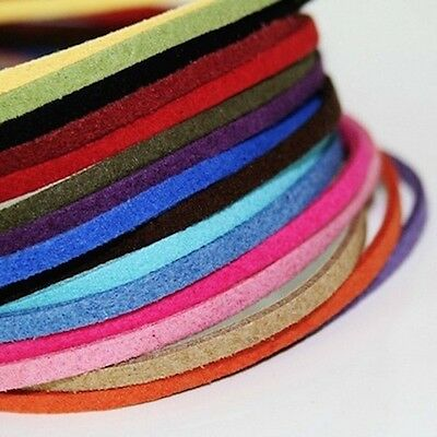 10 Colours 3 x 1.5mm Faux Suede Cord Leather Lace Jewelry Making Beading Thread