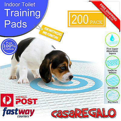 200pcs Puppy Pet Dog Indoor Cat Toilet Training Pads Absorbent 60x60cm