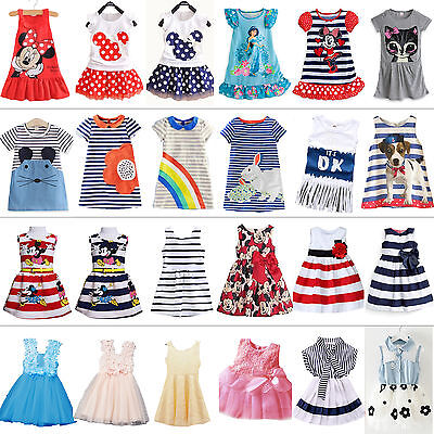Kids Baby Girls Summer Dress Party Princess Sundress Long Tops Clothes 1-7 Years