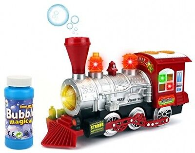 Steam Train Locomotive Engine Car Bubble Blowing Bump and Go Battery Operated