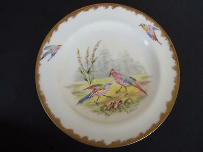 Antique Wedgwood Display Plate w Birds Hand Painted Signed  A.St .Julien C.1880