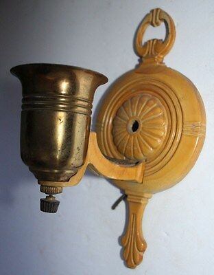 antique brass cast aluminum art deco wall sconce electric fixture socket