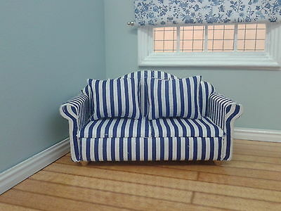 Dolls House Miniatures 1/12th Scale Accessory Blue & White Striped Sofa DF1165