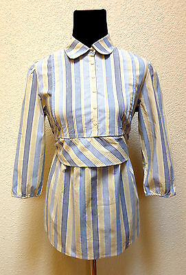 Nwt Two Hearts Maternity Women's Shirt Sz Small Yellow-Blue Striped,1/2Button Up