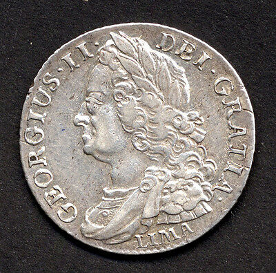 George II, shilling, 1745 LIMA, good VF